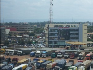 Trucks waiting to be loaded at the Accra, Ghana port area