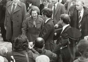 Margaret Thatcher on a visit to Salford. From the University Archives and Special Collections