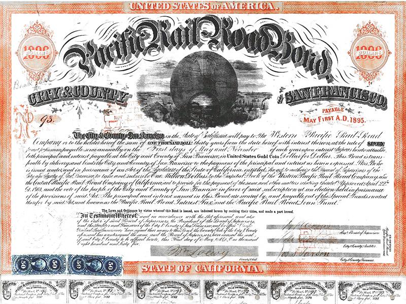 San Francisco Pacific Railroad Bond, 1865. Source: Centpacrr