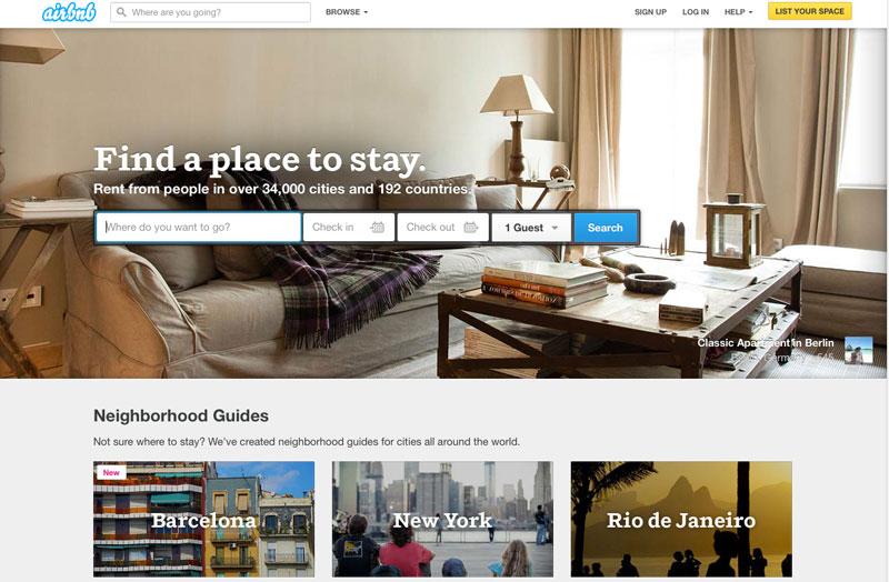 Detail of Airbnb homepage