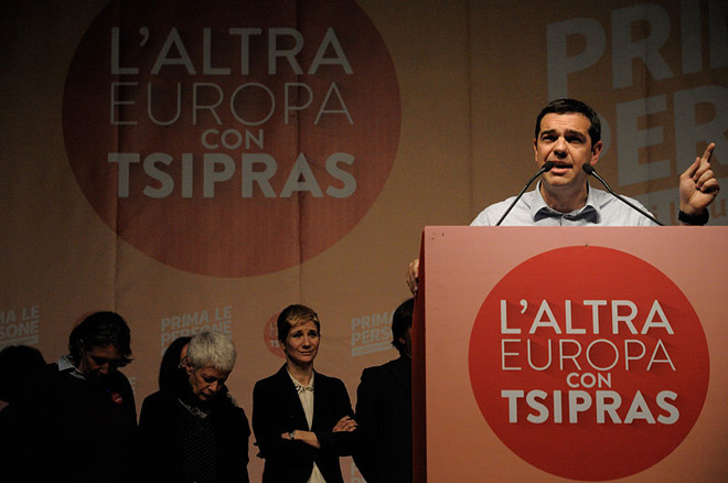Alexis Tsipras campaign rally for L' altra Europe, Bologna , during the European elections in 2014. Author: Lorenzo Gaudenzi