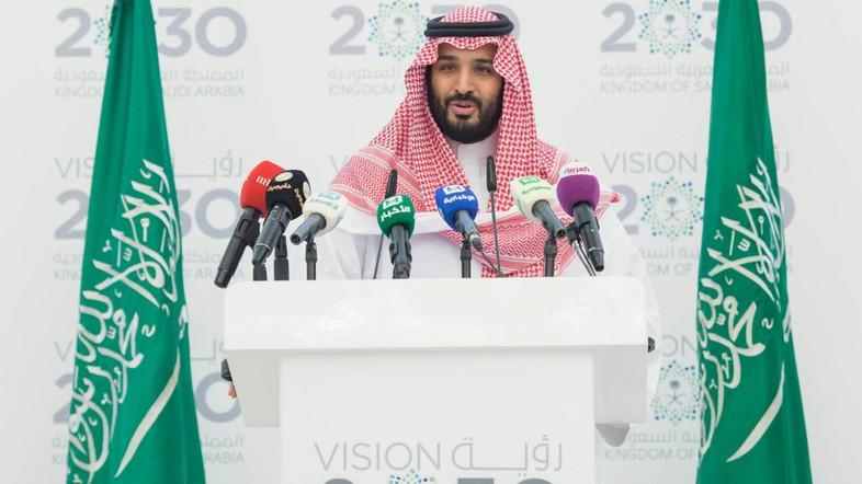 Saudi Deputy Crown Prince Mohammed bin Salman introduces Saudi Vision 2030 during a press conference. Source: Al Arabiya (SPA)