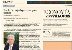 Artículo de Josep Tàpies en el País.