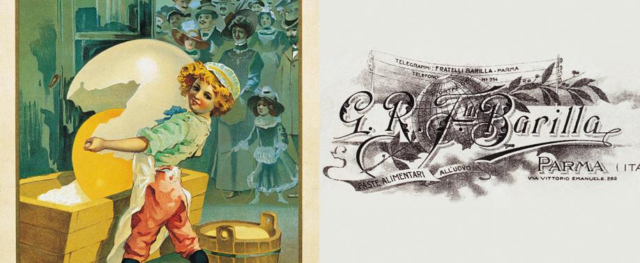 De izquierda a derecha: el primer diseño de la marca corporativa, obra de Trombara, y membrete de la empresa que muestra sus deseos de internacionalización. Fuente: Web de Barilla