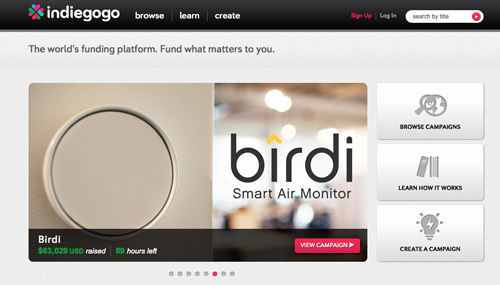 Detail of Indiegogo website home showing some projects.