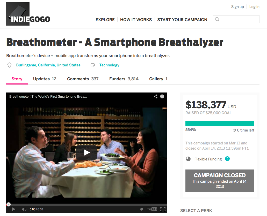 Breathometer raised $138.000 of $25.000 goal