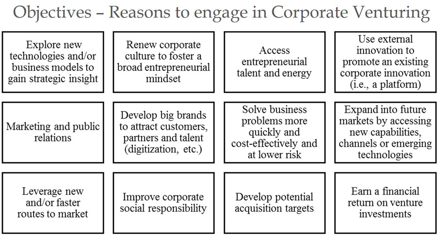 Objectives and reasons to engage in Corporate Venturing