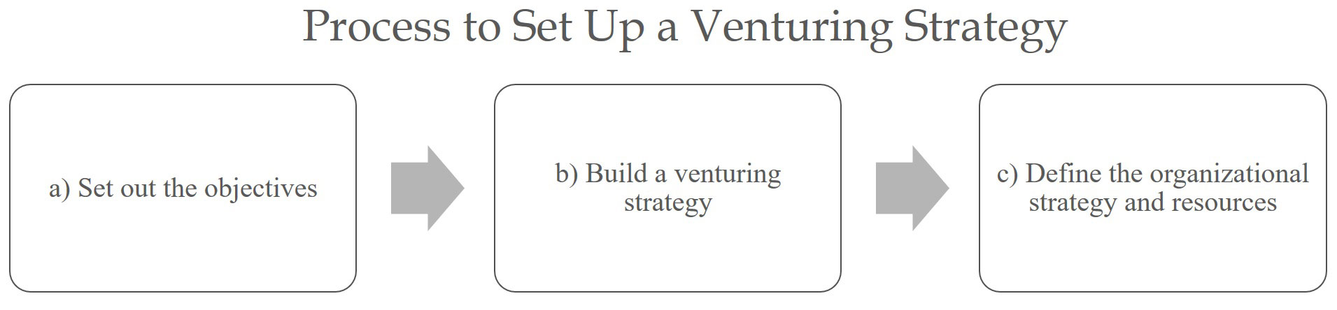 Process to set up a venturing strategy.