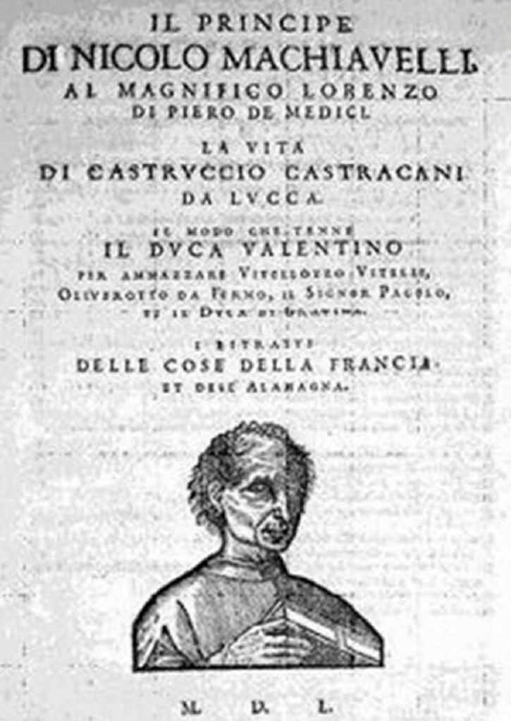 Cover page of 1550 edition of Machiavelli's Il Principe