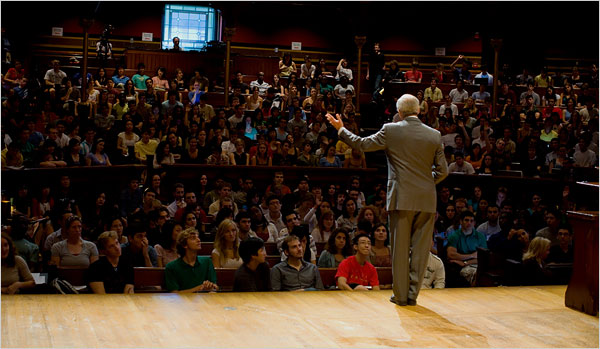 Prof. Michael J. Sandel of Harvard teaching at Sanders Theater in Cambridge, Mass. Source, New York Times, Justin Ide/Harvard News Office