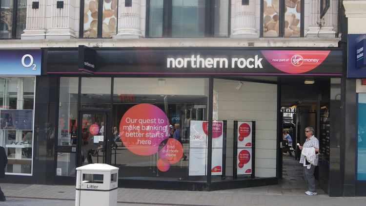 A branch of the Northern Rock with Virgin Money branding on Briggate in Leeds. Author: Michael Taylor