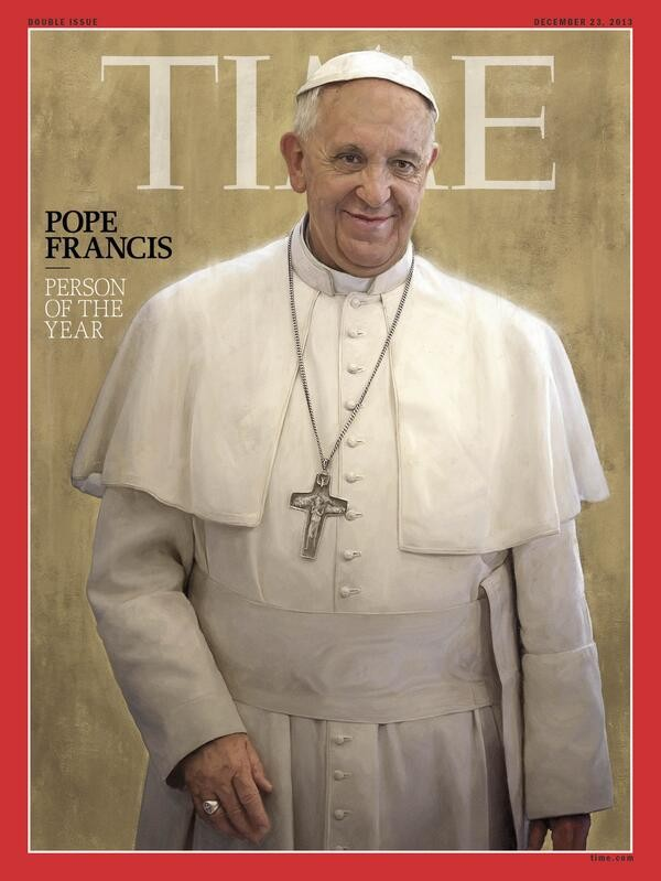 Pope Francis, selected by Time magazine Person of the Year 2013. Source: Time