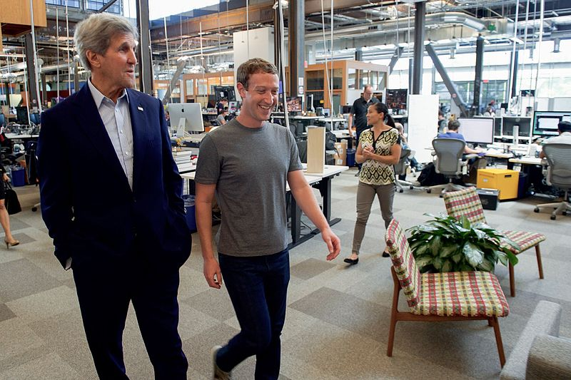 Facebook CEO Mark Zuckerberg gives then U.S. John Kerry a tour of Facebook's new headquarters.