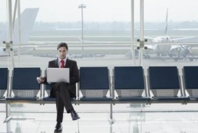 businessman laptop mobile airport Rex