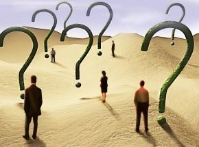 question marks in desert