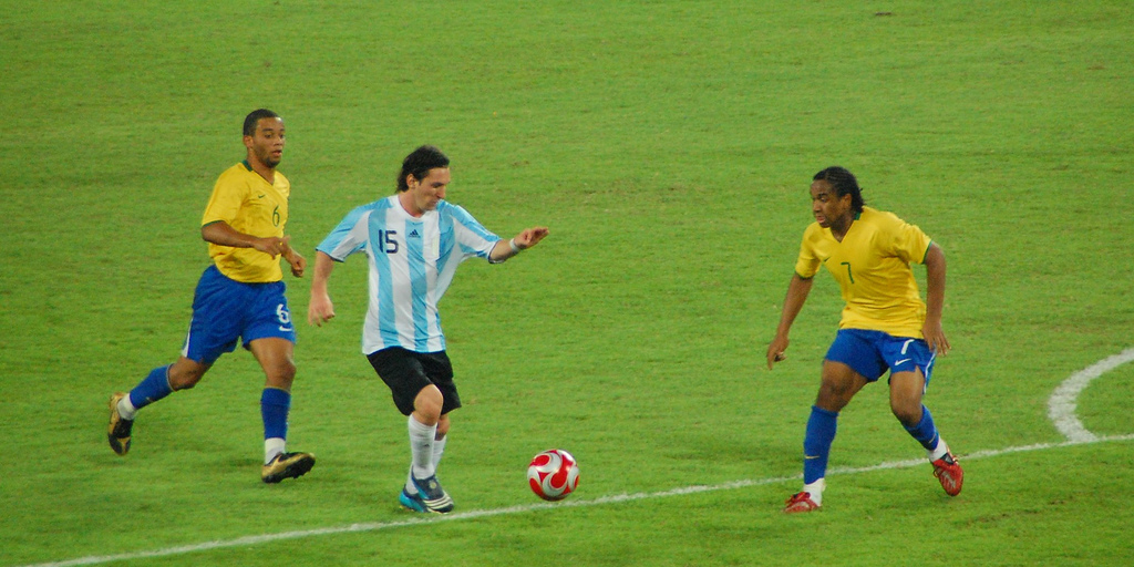 Messi playing for Argentina at the Beijing Olympics. Source: Flickr/akiwitz