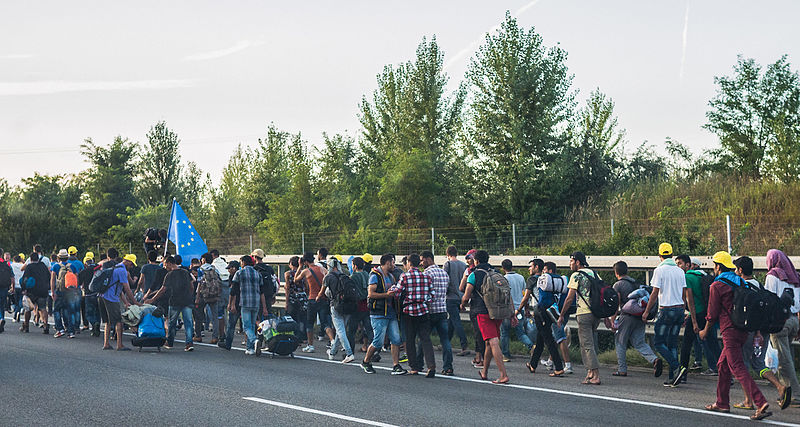 Refugees on the Hungarian M1 highway on their march towards the Austrian border. Photo by Joachim Seidler