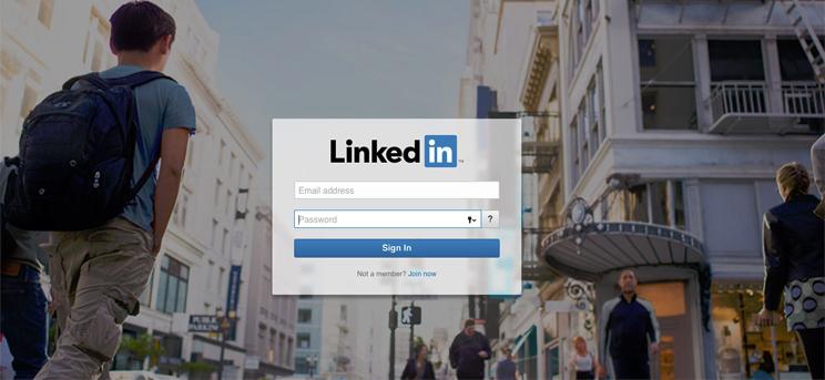 LinkedIn home page.