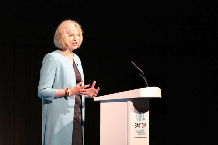 Home Secretary, Theresa May, speaking at the Girl Summit in 2014. Source: Flickr/Russell Watkins/Department for International Development