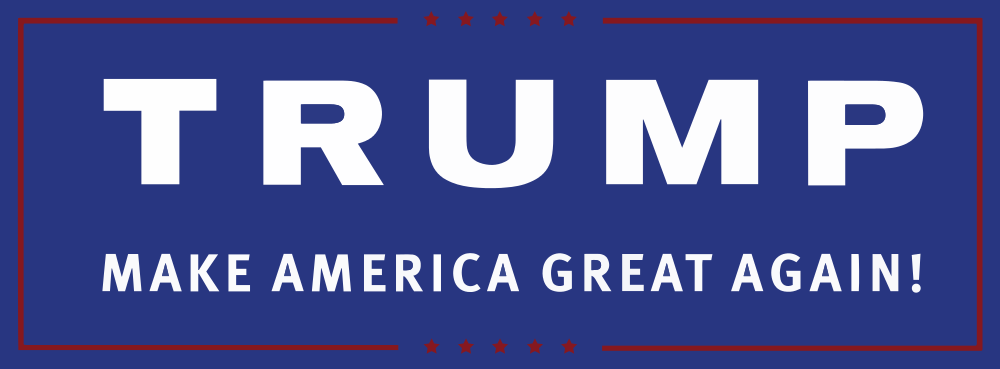 Donald Trump's campaign logo, 2016. This version is used on most campaign materials, rallies, sites, etc.