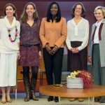 Nuria Chinchilla (far right) with some of the speakers at the end of the event:  from the left, Carolina Schmidt, Carlota Pi, Eghosa Oriaikhi and Prof. Kathleen McGinn.