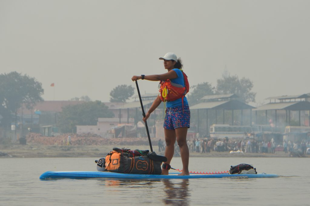 Shilpika paddling on the river Ganges