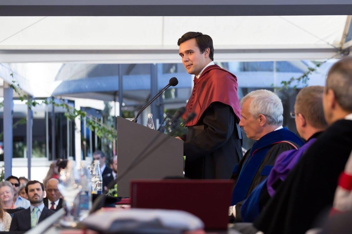 Michael Mascarenhas giving his speech at graduation