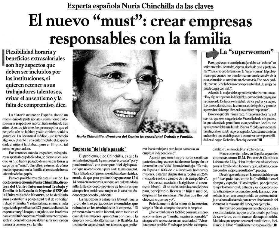 Nuria Chinchilla: valores y ecología humana   Apariciones en medios